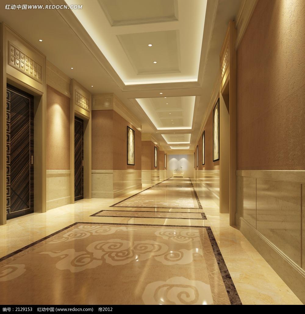 酒店客房走廊通道效果图max3dmax素材免费下载 编号2129153 红动网