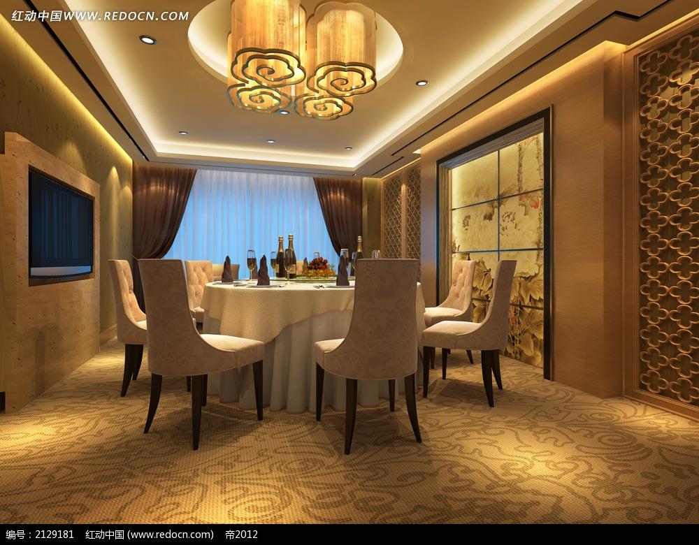 现代中式餐厅包厢效果图max