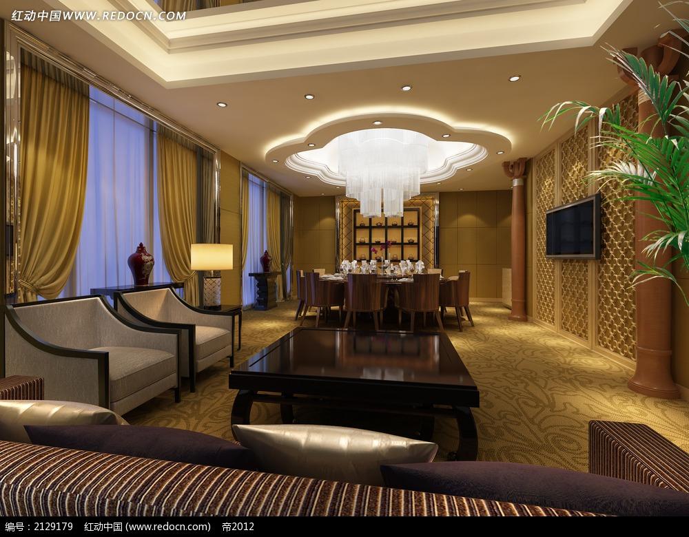 现代中式餐厅包厢装修效果图max高清图片