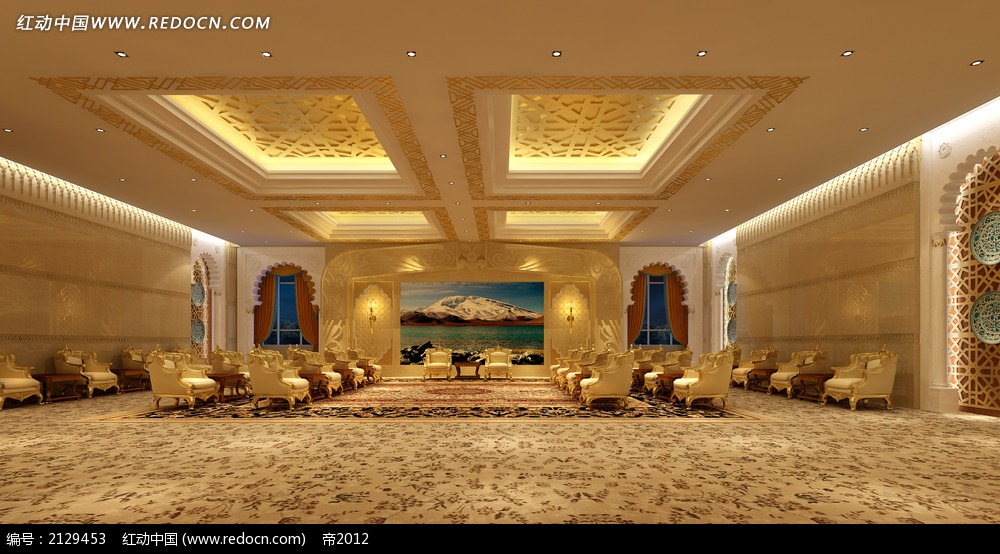 大型豪华会客厅装修效果图max