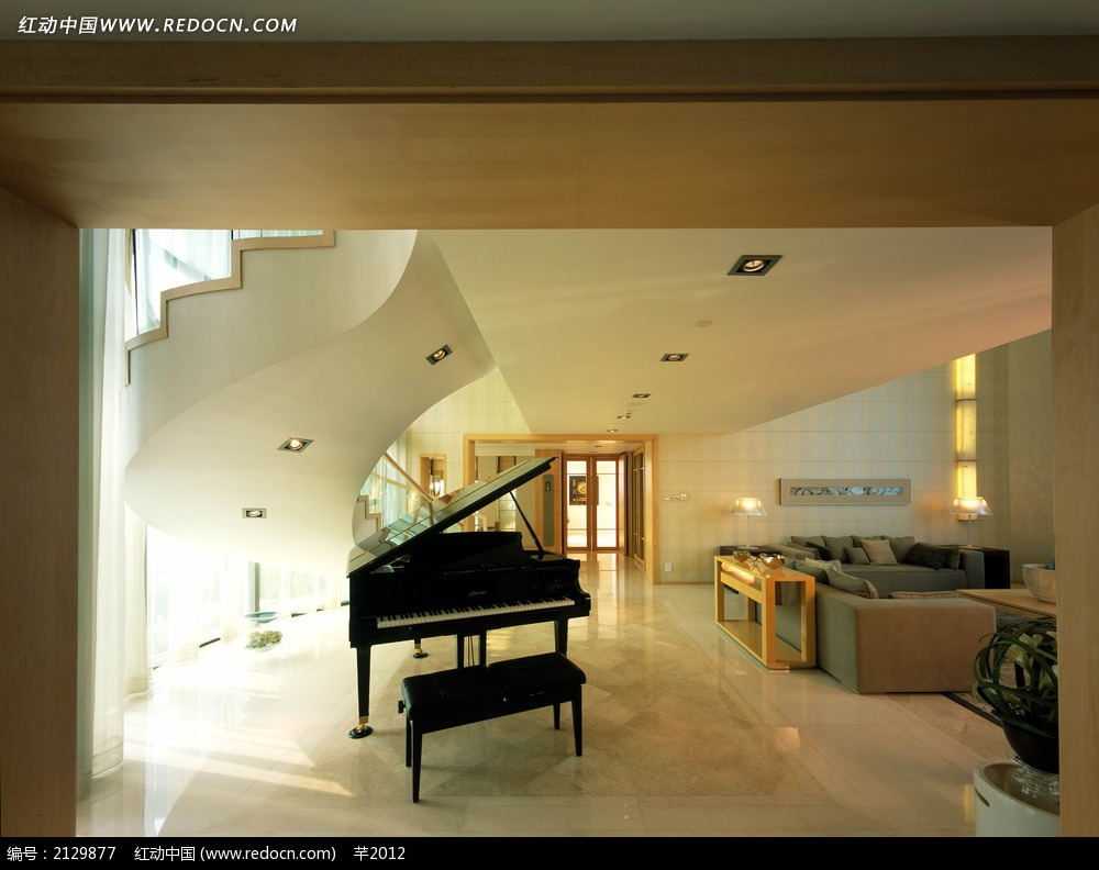 别墅钢琴陈设图_室内设计图片