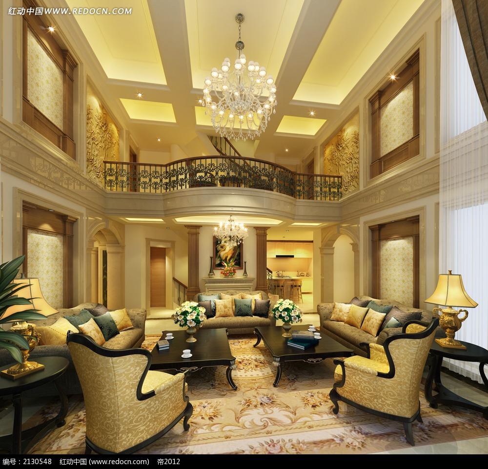 家具模型 > 别墅欧式风格客厅装修效果图max  3d素材  max  室内设计图片