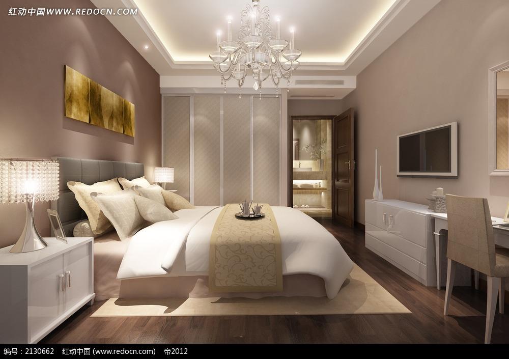 带浴室双人卧室装修效果图max3dmax素材免费下载 编号2130662 红动