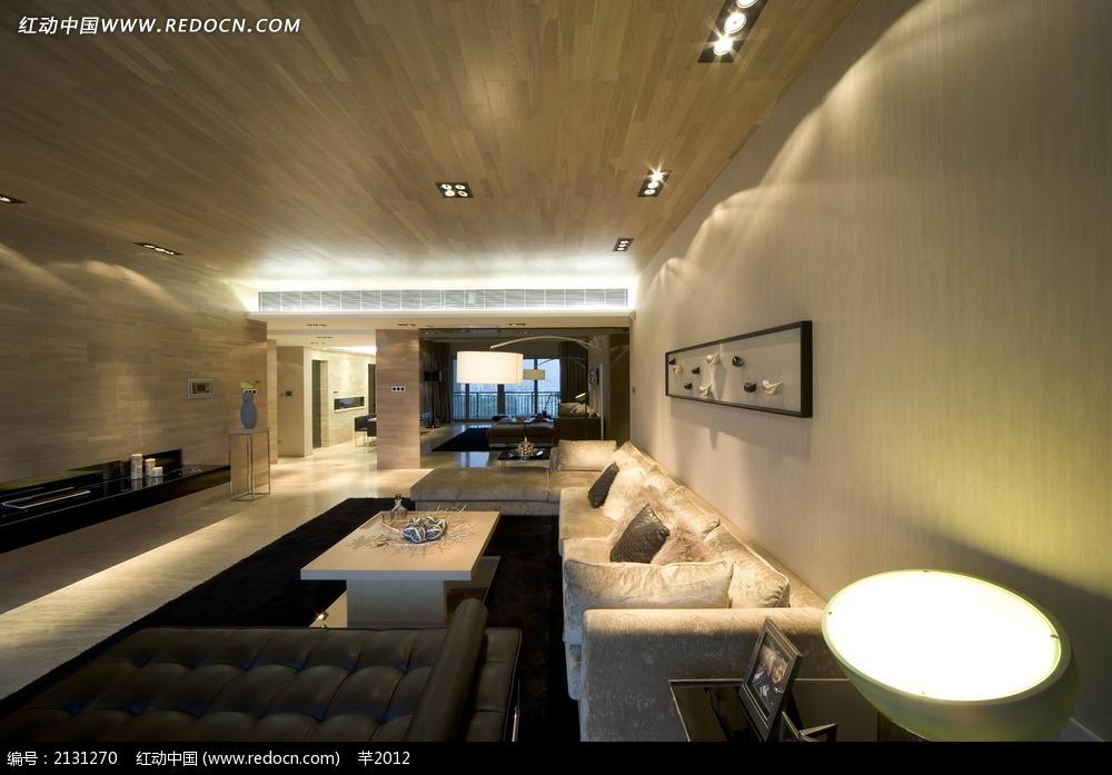 客厅墙面灯效实景图图片_室内设计图片
