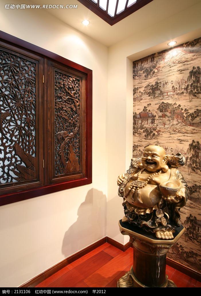 中式背景墙雕花窗户设计图