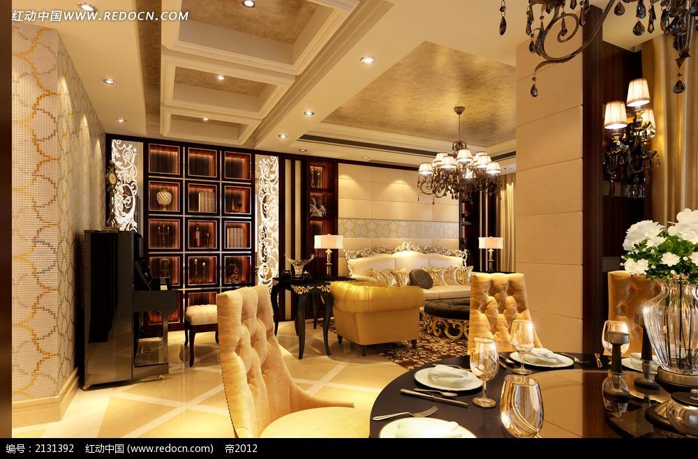 欧式圆桌餐厅客厅装修效果图max