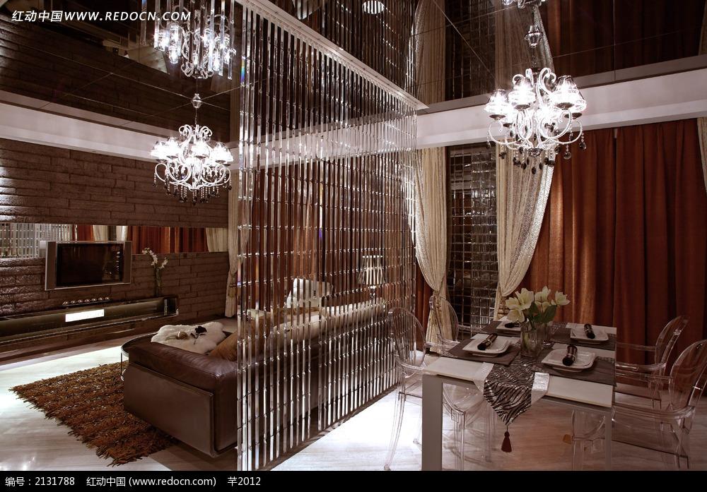浪漫欧式饭厅客厅设计图