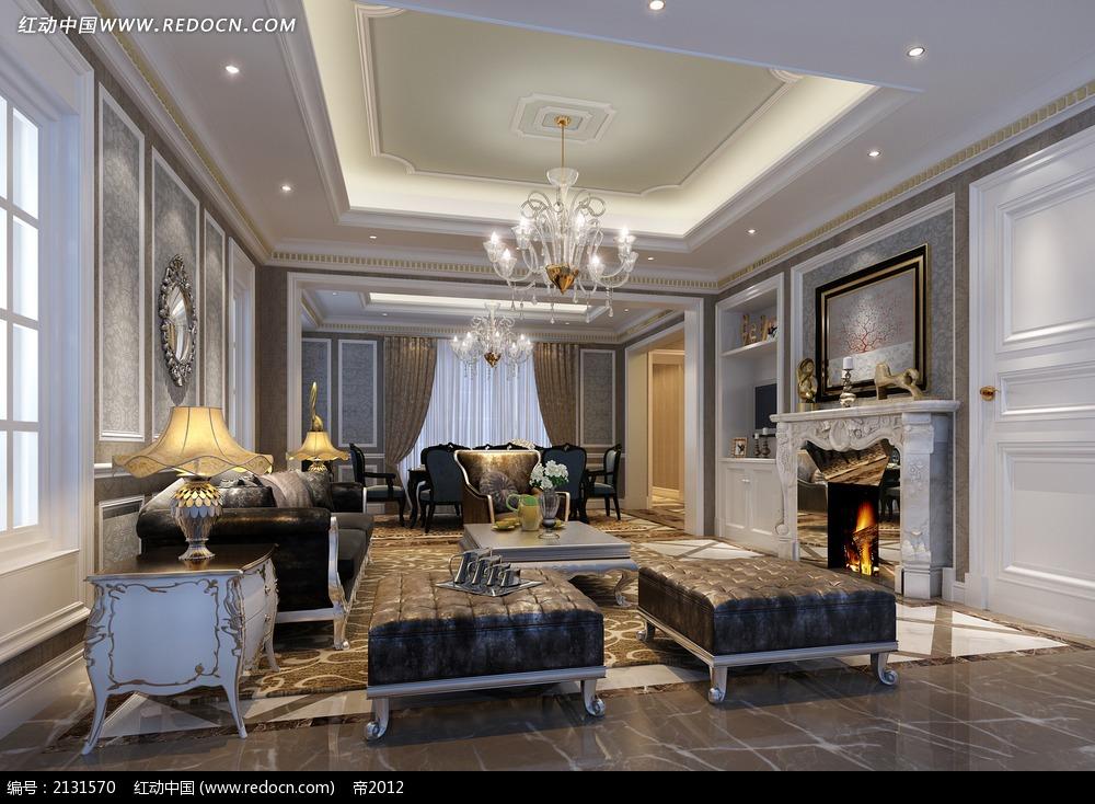 复古欧式客厅装修效果图max图片
