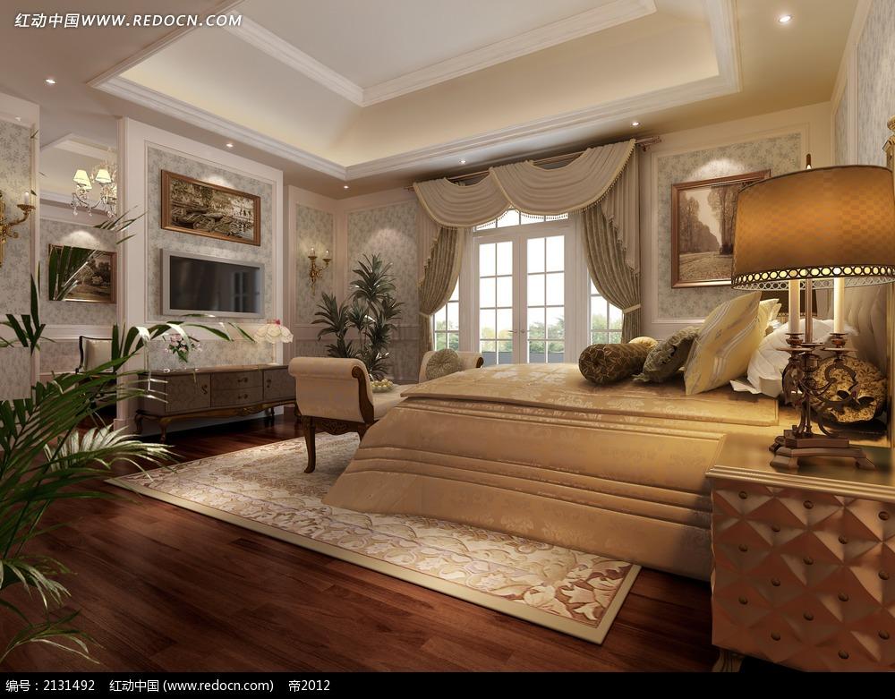 卧室欧式家装效果图max3dmax素材免费下载 红动网
