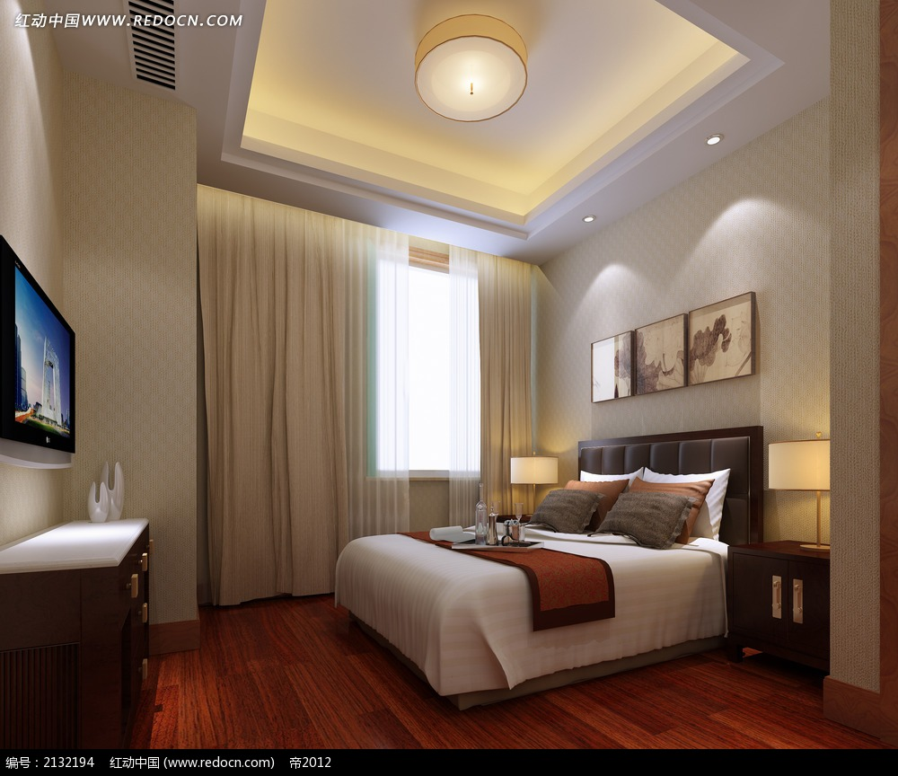 木地板卧室设计效果图max_室内设计