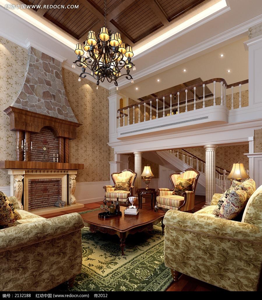 欧式田园风楼中楼客厅效果图max图片