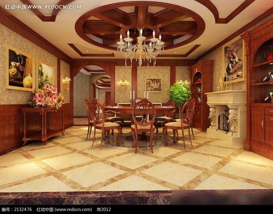 欧式餐厅装修效果图max3dmax免费下载 室内设计素材高清图片
