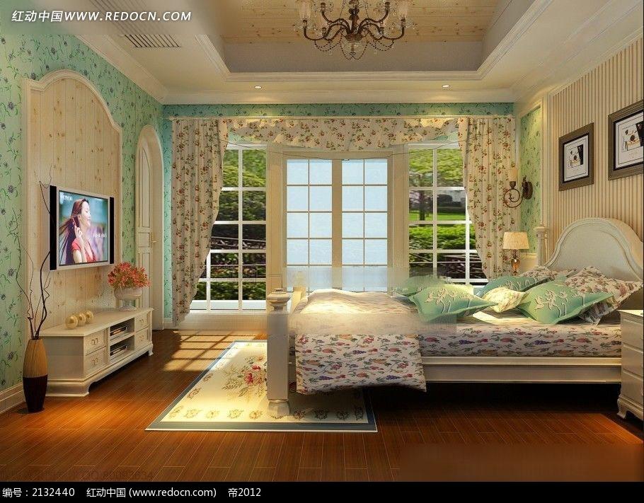 欧式田园风卧室效果图max图片