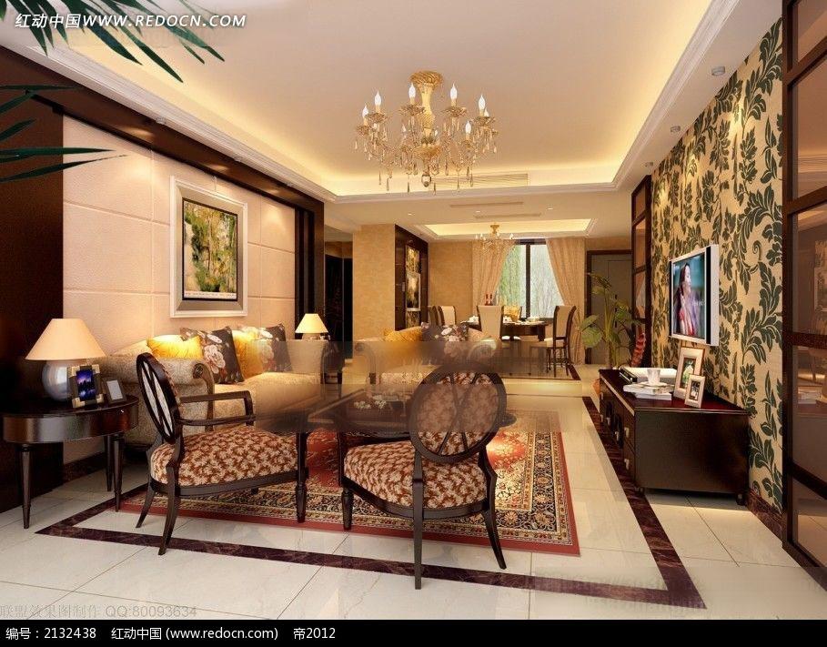 欧式客厅家装设计效果图max