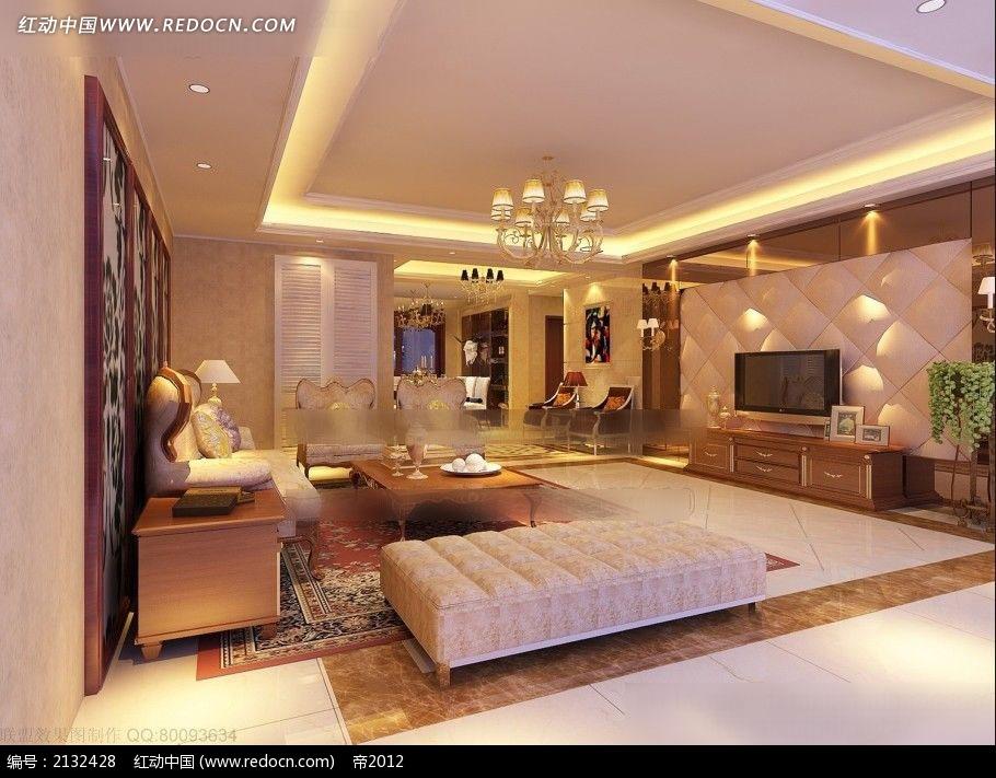 欧式风格客厅装修效果图max