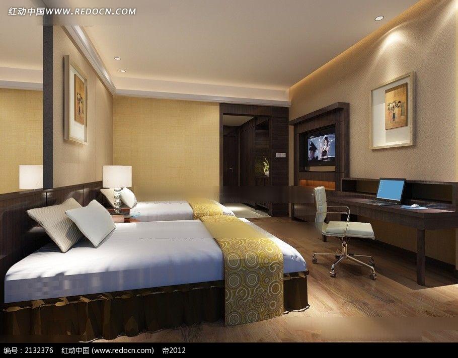 宾馆标准间3d效果图_酒店标准间客房效果图max3dmax素材免费下载_红动网