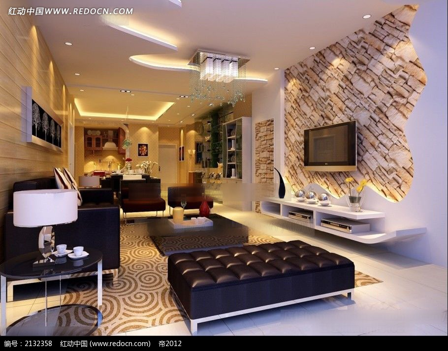 文化石电视墙客厅装修效果图max