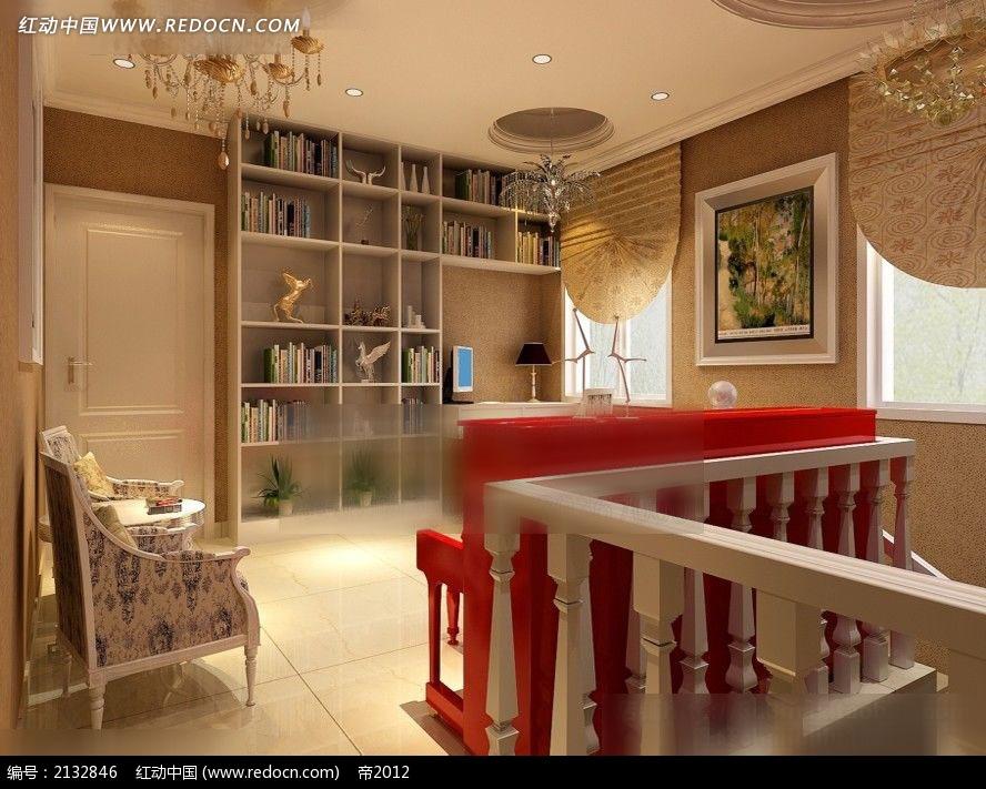免费素材 3d素材 3d模型 室内设计 楼中楼休闲区一角装修效果图max