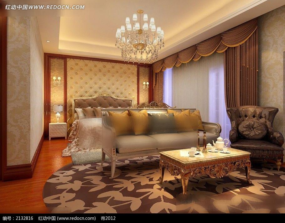 豪华欧式卧室装修效果图max