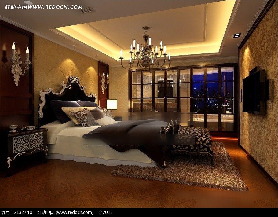 欧式风格卧室卫生间装修效果图max