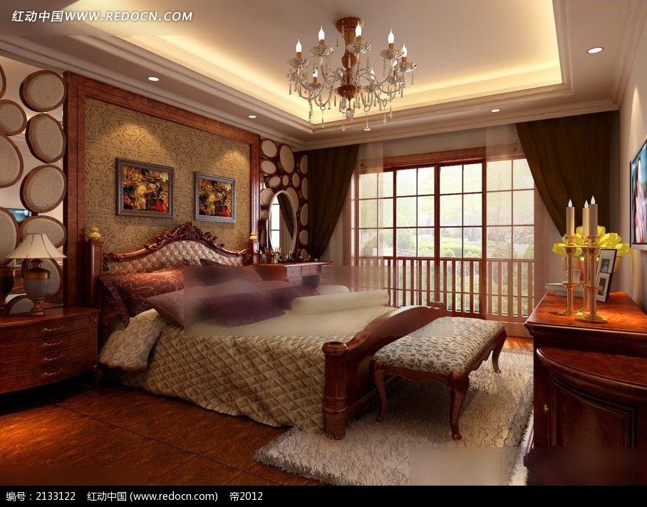 免费素材 3d素材 3d模型 室内设计 欧式卧室装修效果图max  请您分享
