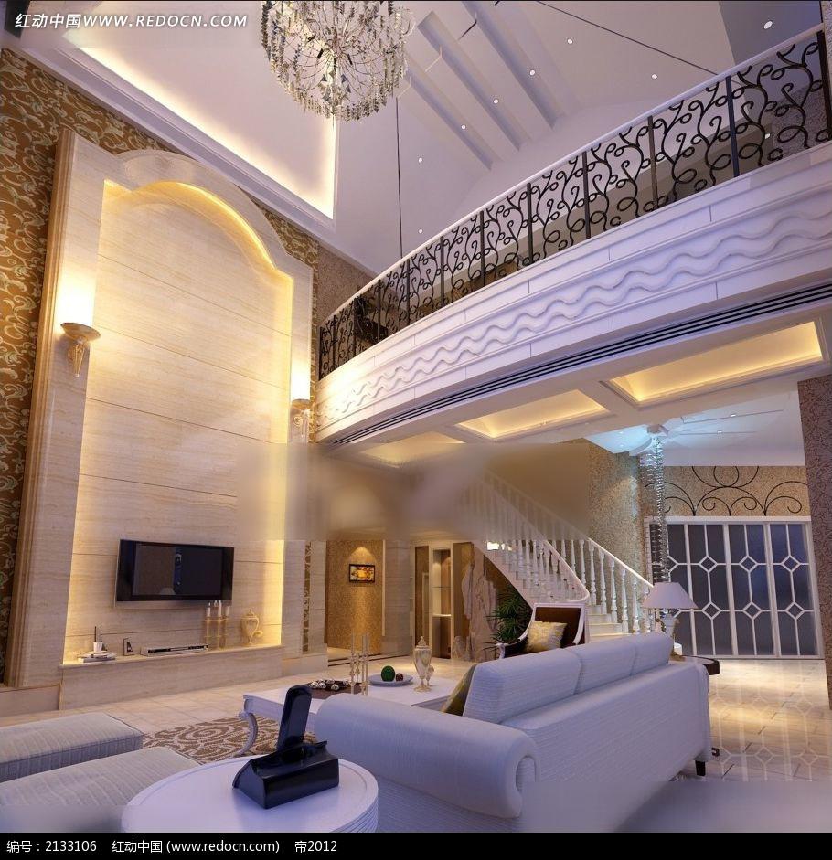 免费素材 3d素材 3d模型 室内设计 气派的楼中楼客厅装修效果图max