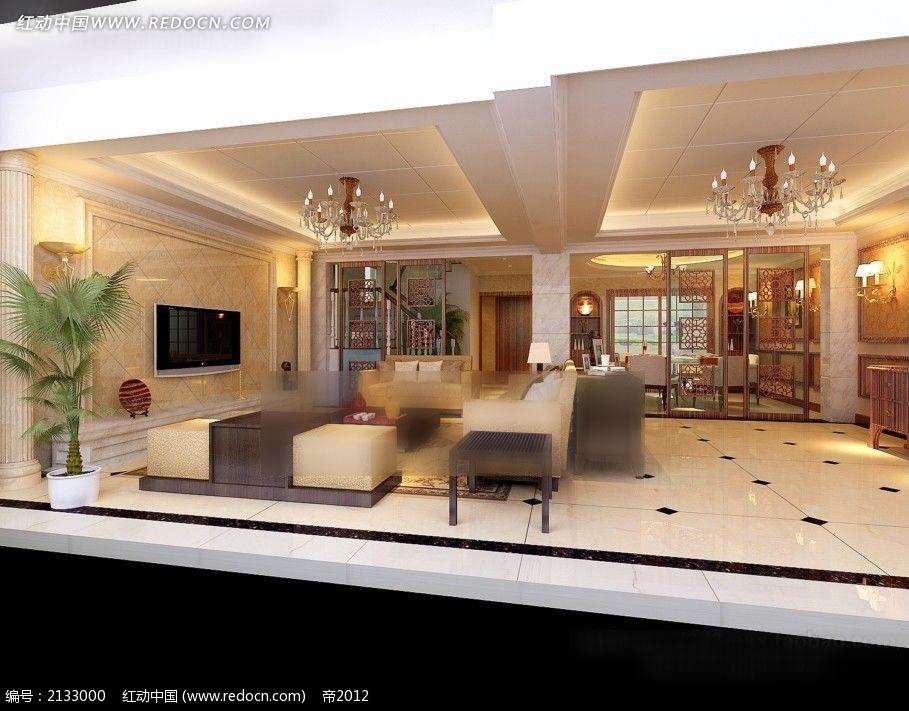 豪华客厅餐厅装修效果图max