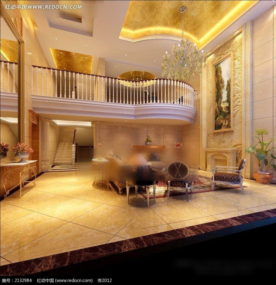 豪华欧式楼中楼客厅装修效果图max图片