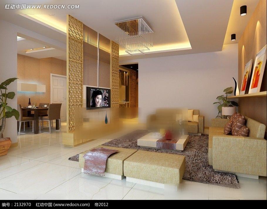 镂空 电视 墙客厅 装修效果图max 室内设计高清图片