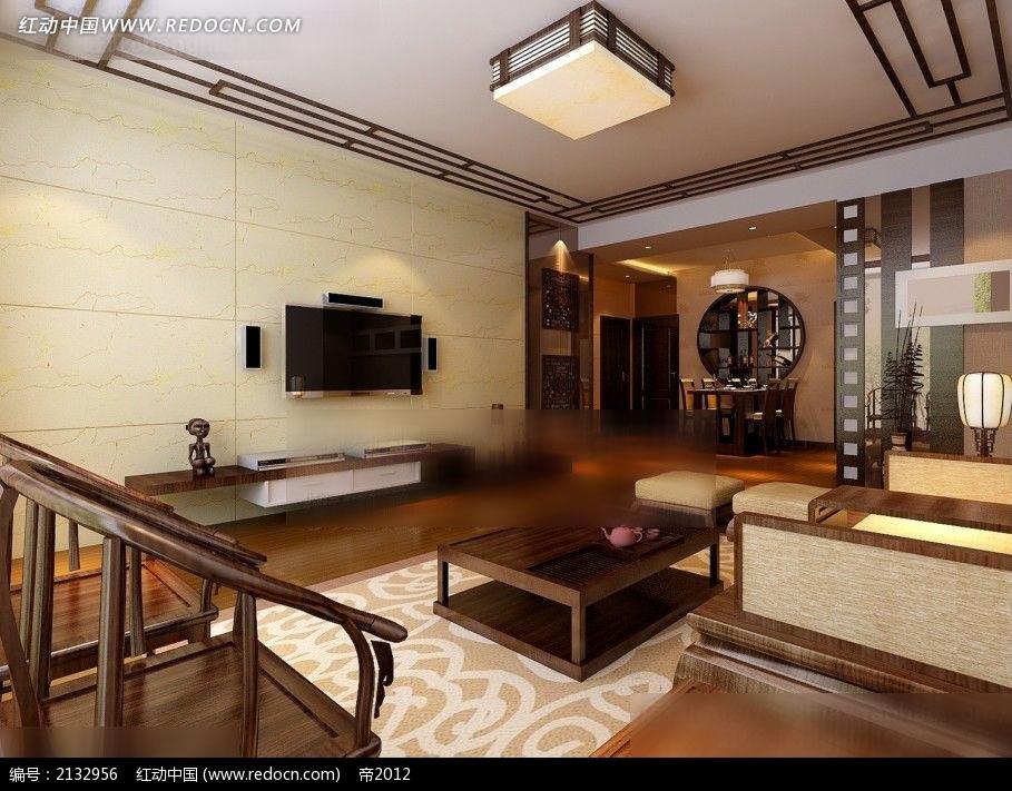 中式客厅餐厅装修效果图max3dmax免费下载_室内设计图片