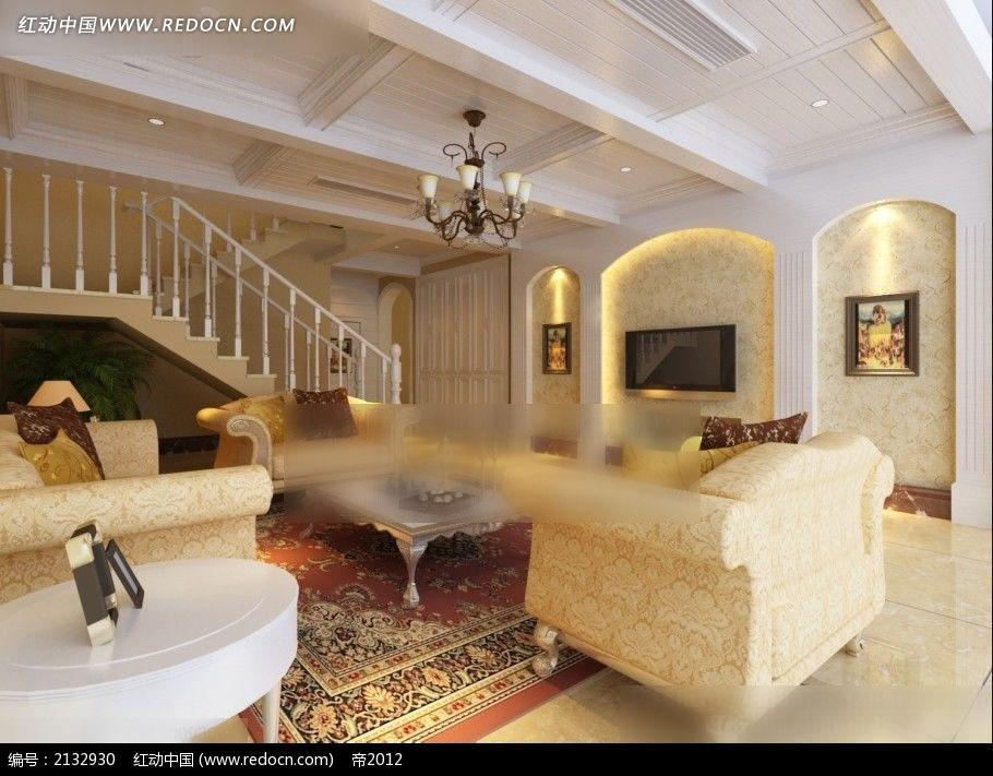 楼中楼欧式客厅家装设计图max