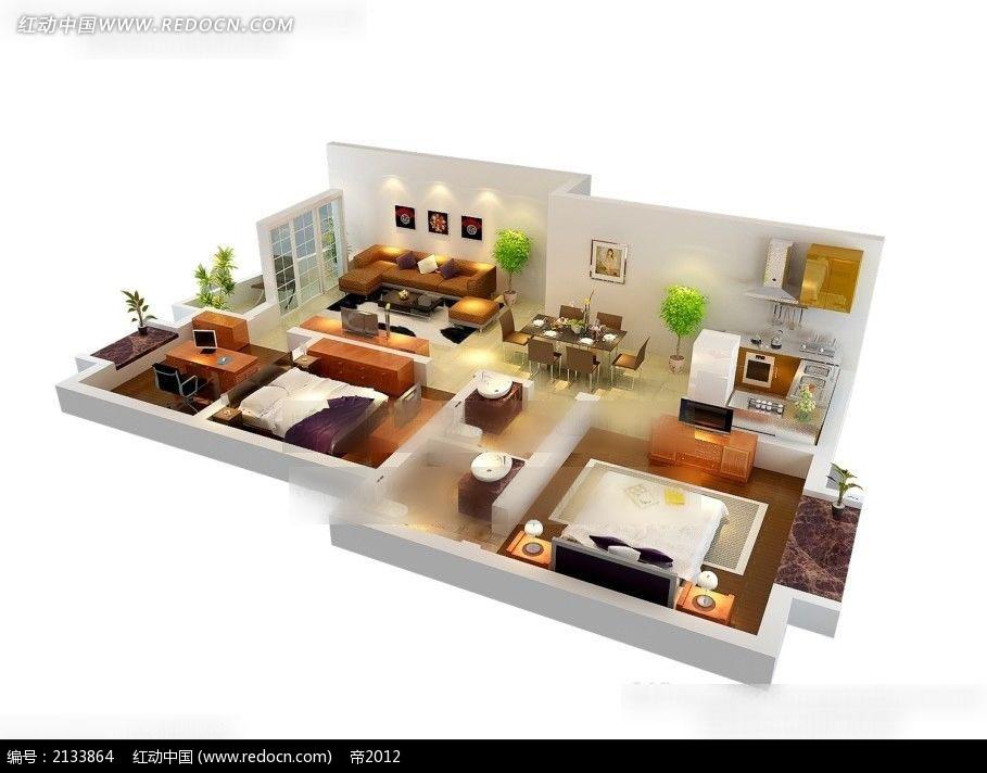 三房两厅3d装修设计平面图max