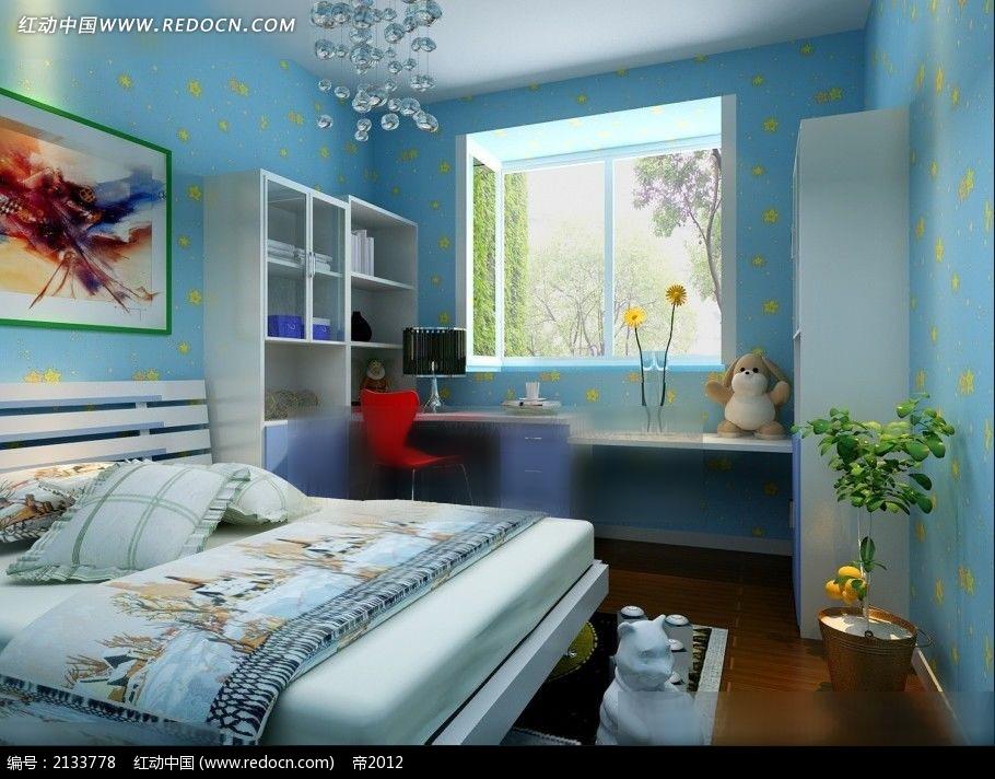 机构a机构机械装修效果图max_室内设计卧室v机构中的分中蓝色图片