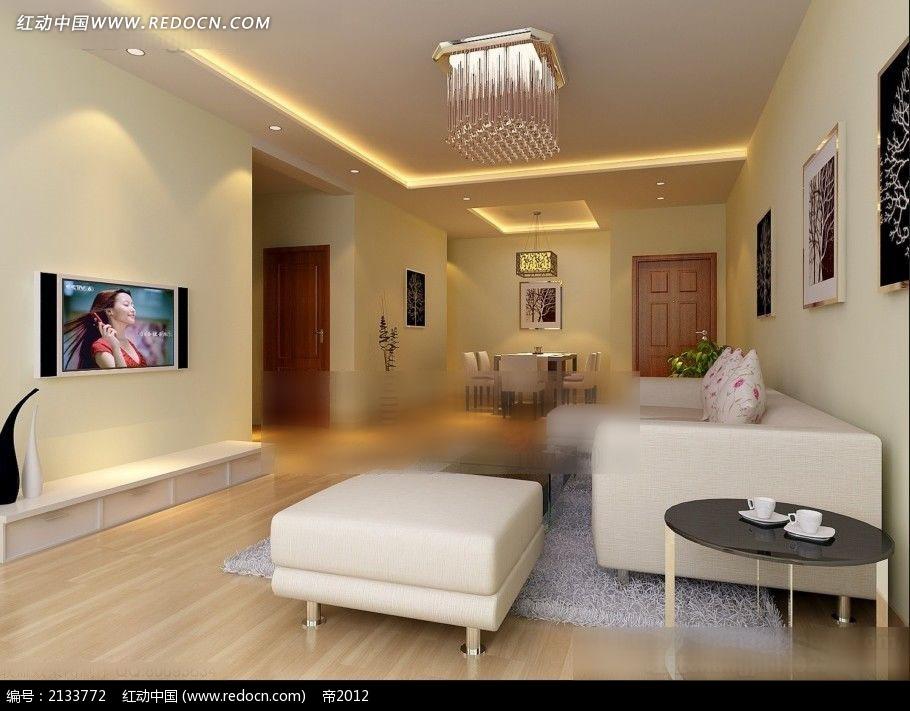黄色墙面客厅餐厅装修效果图max3dmax免费下载 室内设计素材高清图片