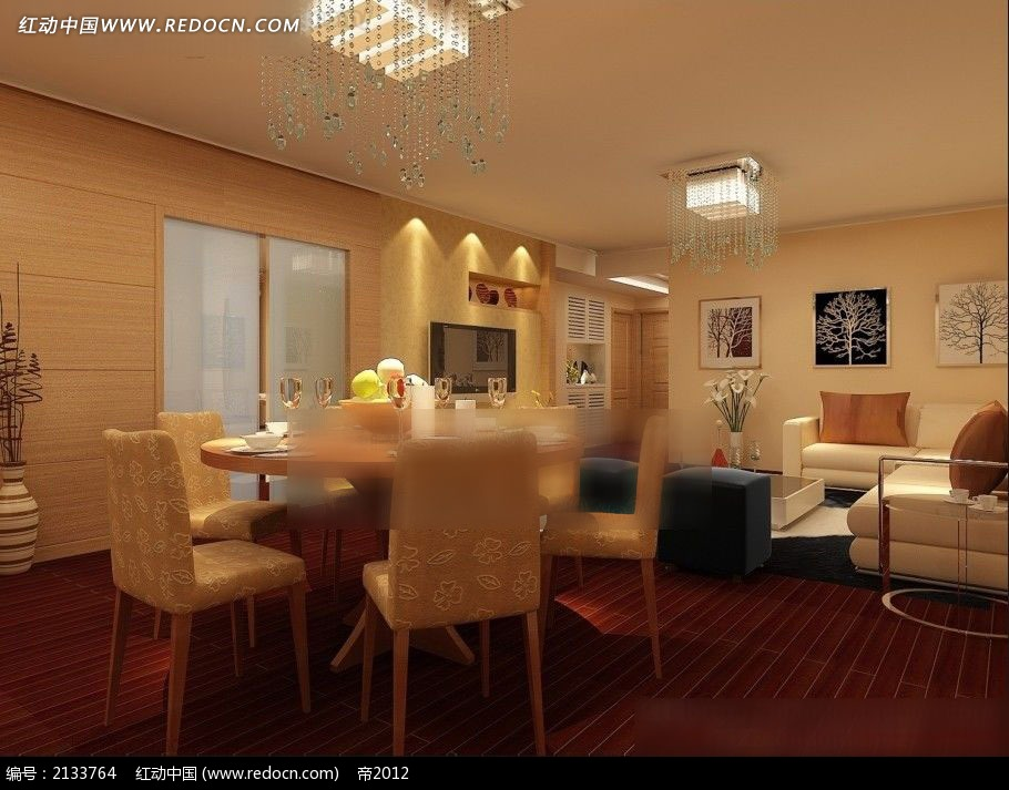 客厅和圆桌餐厅装修效果图max