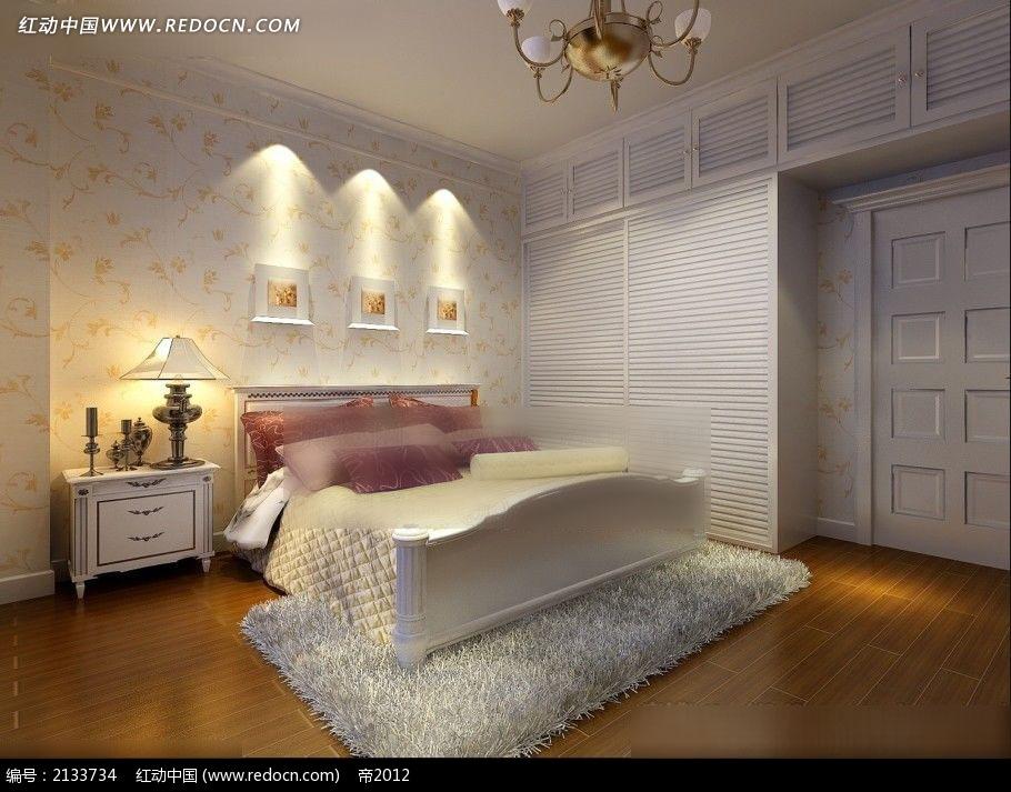 植物花纹 墙纸 卧室装修 效果图max 室内设计高清图片