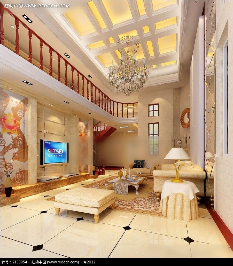 豪华楼中楼欧式客厅装修效果图max图片