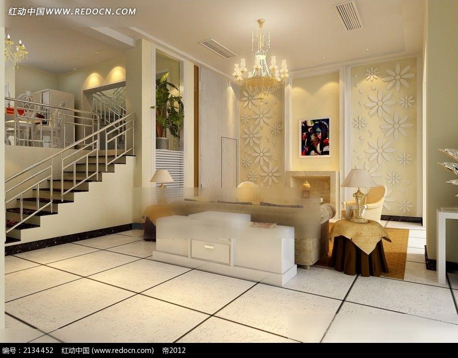 楼中楼简欧风格客厅装修效果图max图片