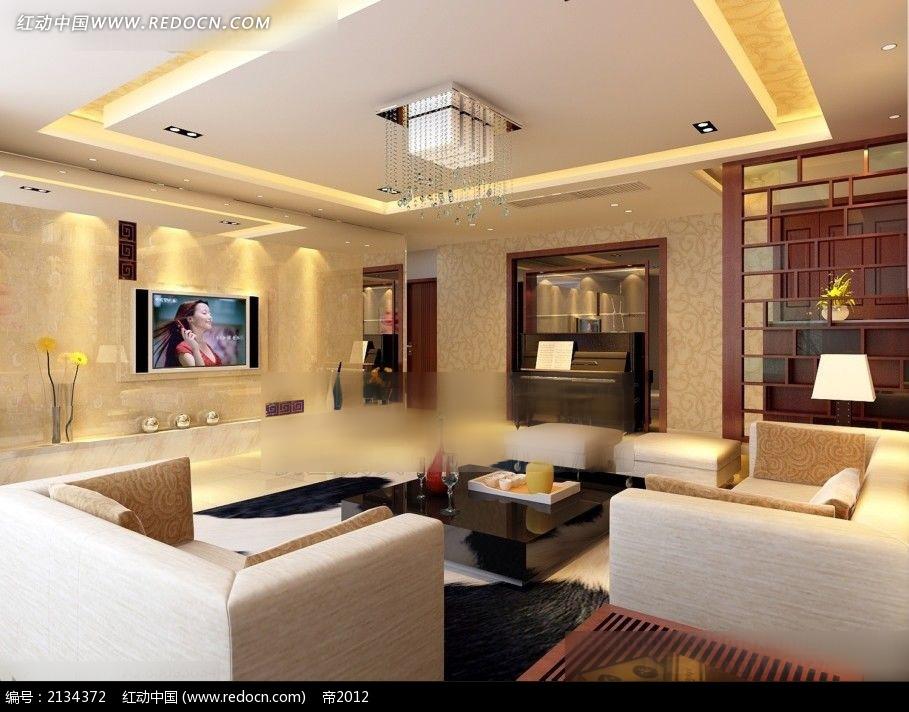 中式花纹墙纸客厅效果图max图片