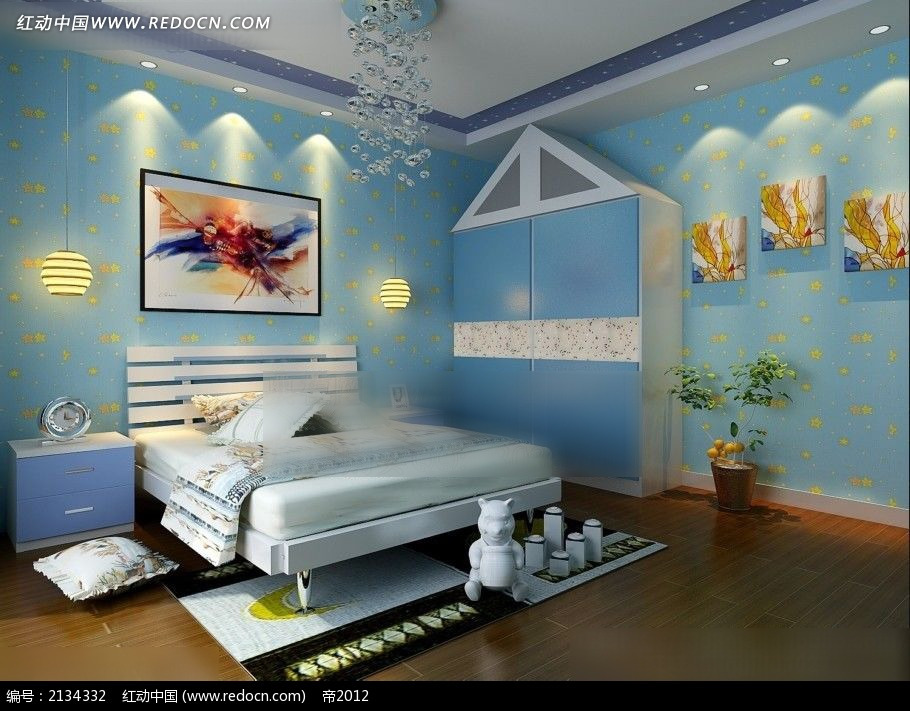 a卧室卧室蓝色效果图max_室内设计100平室内设计图片