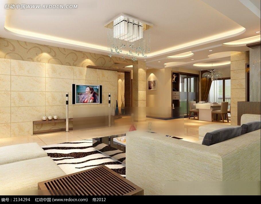 宽敞大理石墙面客厅效果图max3dmax免费下载_室内设计