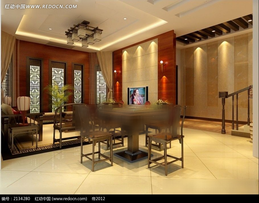 豪华中式客厅娱乐室装修效果图3dmax免费下载 室内设计素材