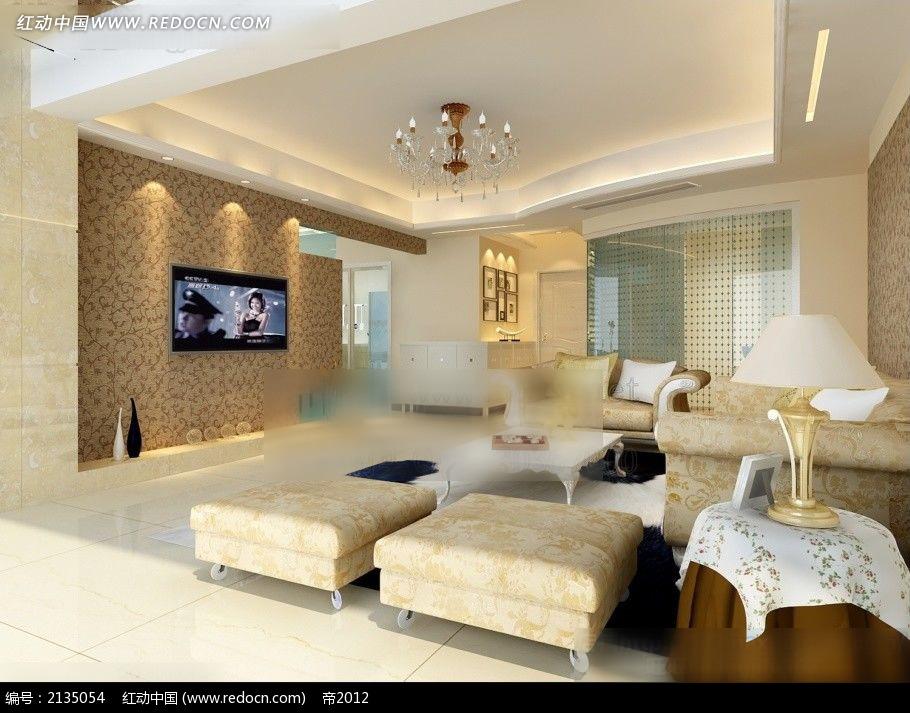 免费素材 3d素材 3d模型 室内设计 客厅电视背景墙沙发陈设图  请您