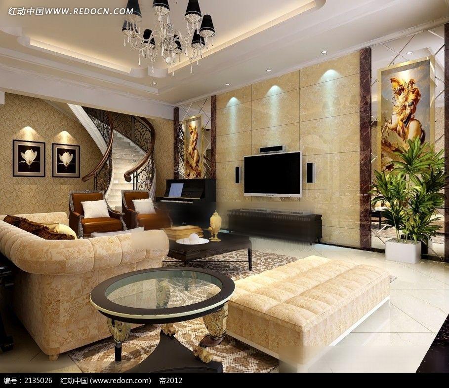 复式别墅客厅装修效果图max图片