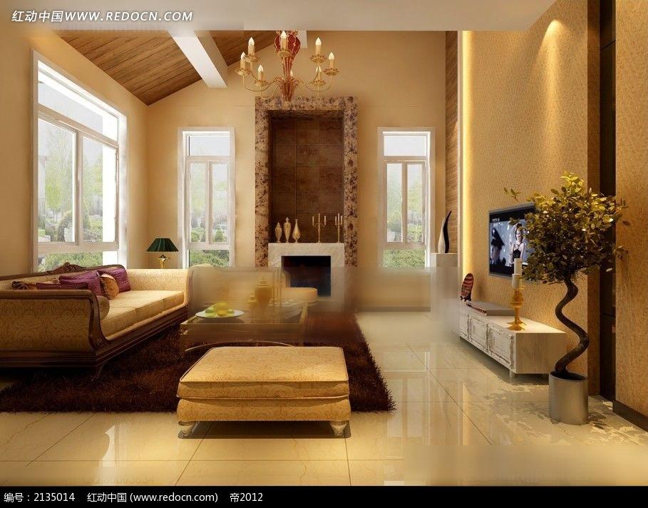 欧式坡顶客厅装修效果图max