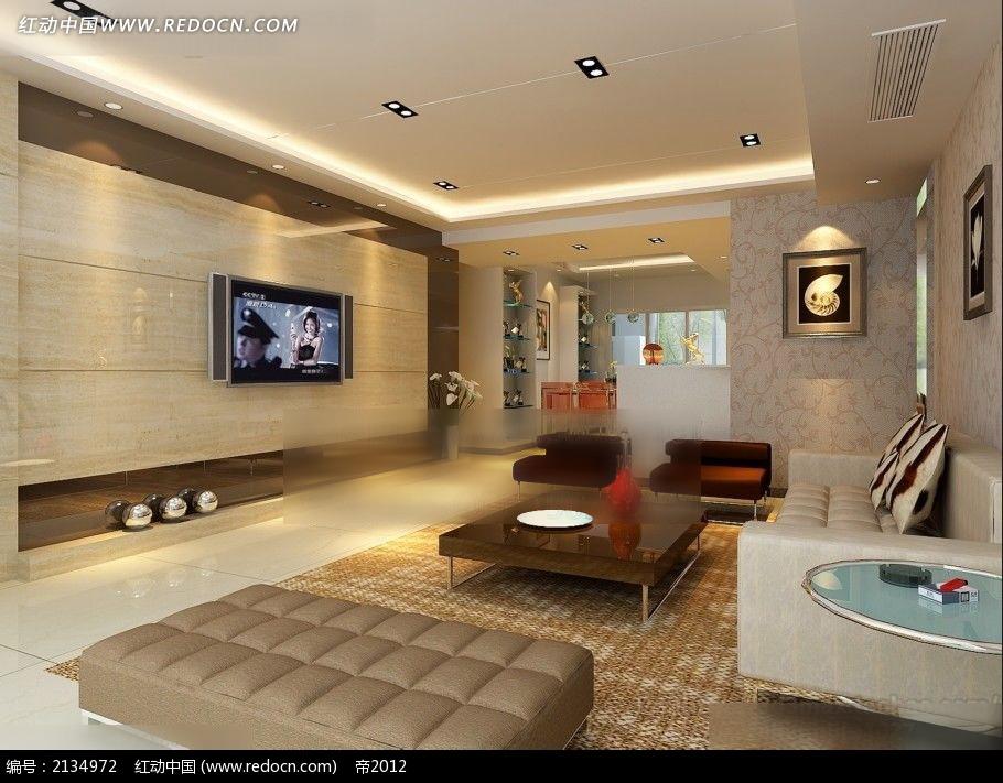 大理石电视墙客厅装修效果图max高清图片