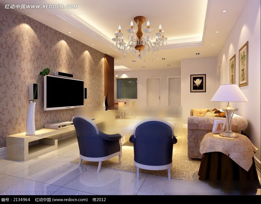 咖啡色花纹电视墙客厅装修效果图max