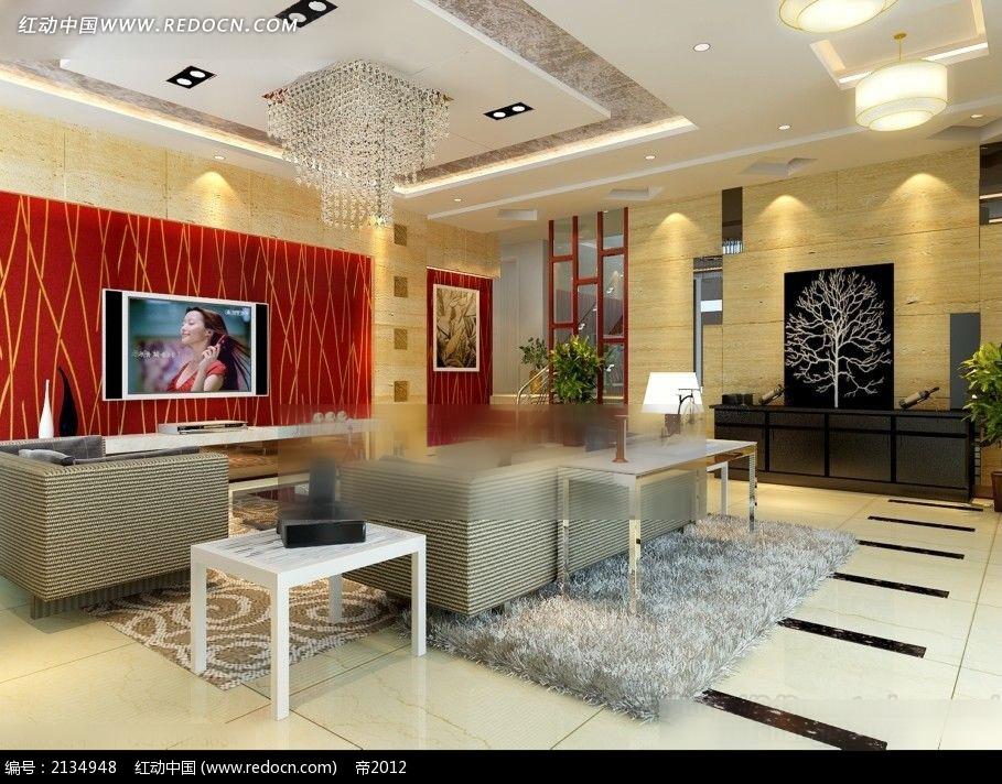 红色电视墙客厅装修效果图max3dmax素材免费下载_红动