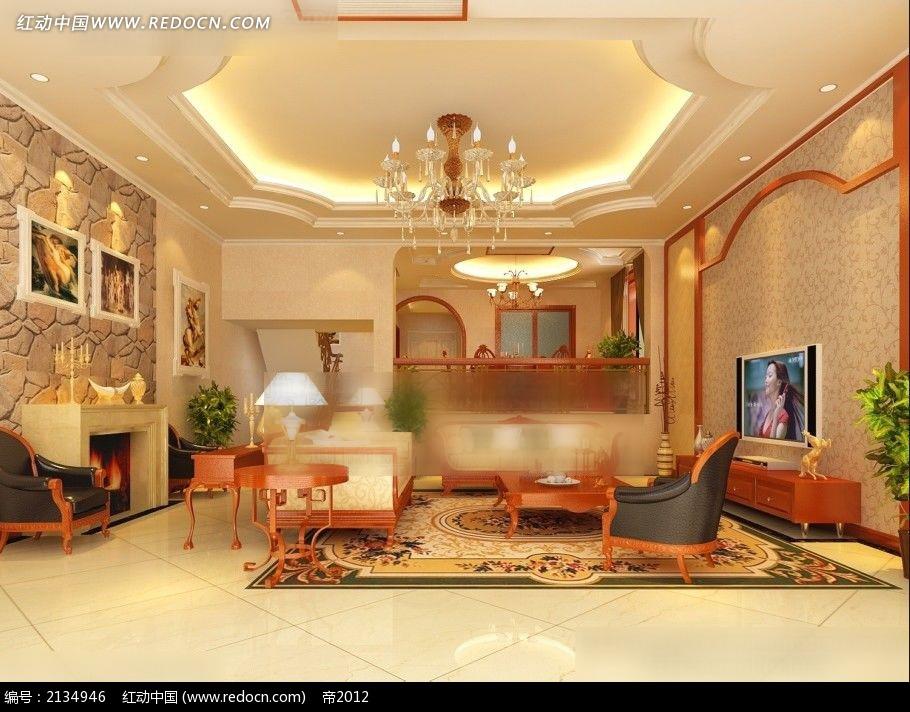 楼中楼欧式风格客厅餐厅装修效果图max图片