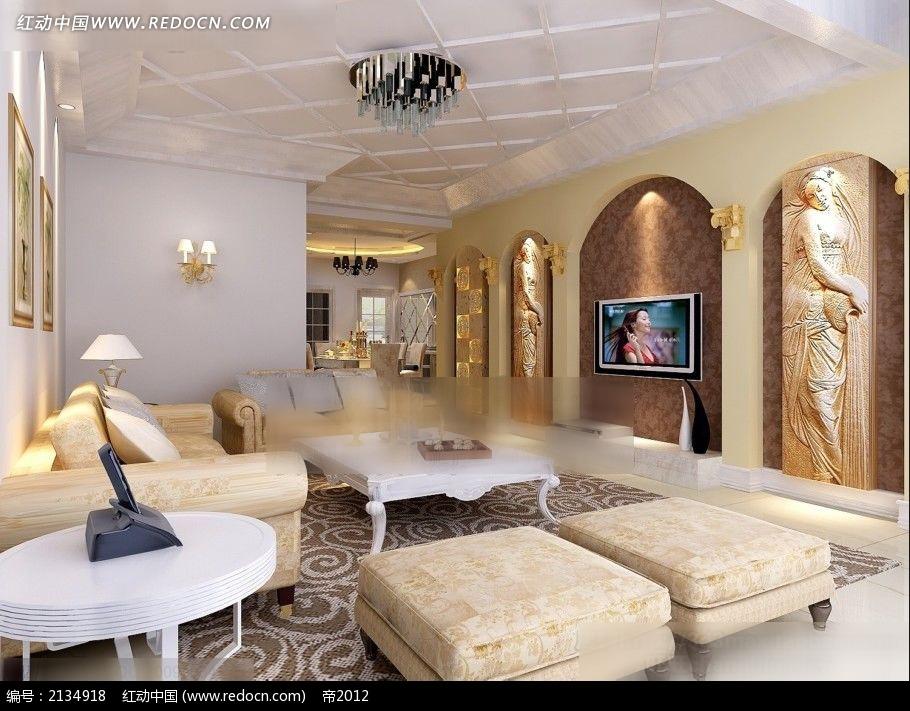欧式浮雕装饰客厅装修效果图max
